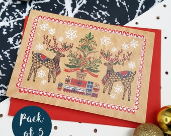 Illustrated Christmas Cards Pack- Festive Folk Art Reindeer- Pack of 5