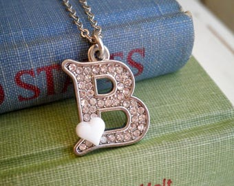 Silver Letter B Charm Necklace - Silver Rhinestone Initial B + Tiny White Heart Letter Pendant - Personalized Initial Jewelry Gift For Her