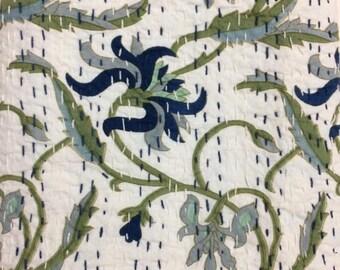 Blue Leaf Daliya Print - cotton fabric 10 YARD