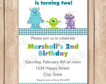 Mini Monsters Inc. Birthday Invitation | Sulley, Mike, Randal - 1.00 each printed