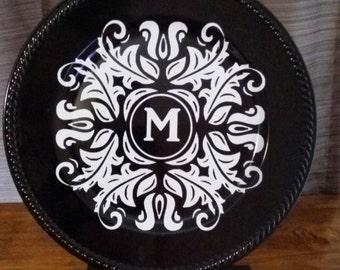 Family name monogram charger plate - personalized gift - Top selling monogram - Monogram plate - family name plates