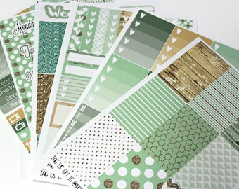 Planner Stickers - Fits Happy Planner Classic - Mint and Wood Planner Stickers - Ala Carte Weekly Sticker Kit - Mint Planner Stickers