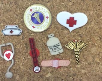 Nurse RN Health Care Worker Push Pins Thumbtacks  x8, Gift Under 10. Cubicle Decor, Fun Push Pins