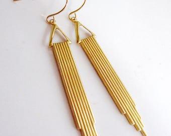 Brass Art Deco Earrings, Modern Earrings, Antique Gold, Long, 1920s Style,  Pendant, Minimalist, Urban Chic, Redpeonycreations