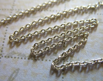 Silver Chain, Round Cable Chain, 1.5x1.1 mm, 925 Sterling Silver 10-35% less wholesale for necklace jewelry petite  SS..S66..hp