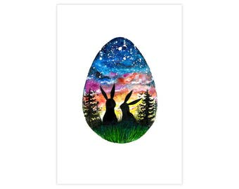 Happy Easter Watercolor Drawing Fine Art Print