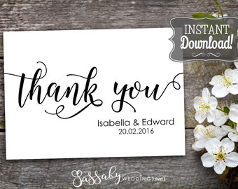Wedding Thank You Card Editable & Printable - INSTANT DOWNLOAD - Bride Groom Names Date, Thankyou Notes, Wedding Stationery, Cards