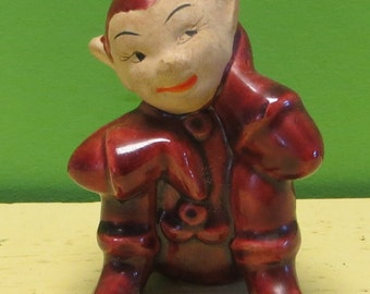Creepy 1950's Christmas Elf Pixie Made In Japan Figurine - Free Shipping