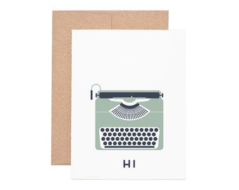 Typewriter Hi Letterpress Greeting Card - Blank Card   Greeting Cards   Letterpress Cards
