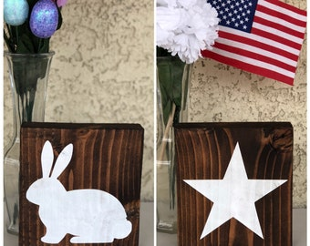 Bunny and Star Reversible Wood Block Sign - Easter - 4th of July - Reversible Wood Block