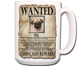 Pug Wanted Poster Extra Large 15 oz Coffee Mug No 3 Puppy
