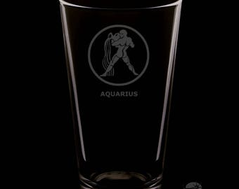 16 Ounce Aquarius Personalized Rim Tempered Pint Glass