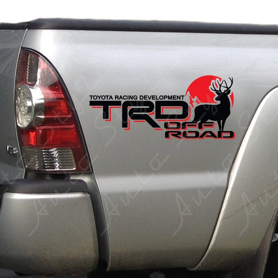 Toyota trd truck off road 4x4 racing deer hunting tacoma tundra decal vinyl stickers pair of two identical stickers choose your colors