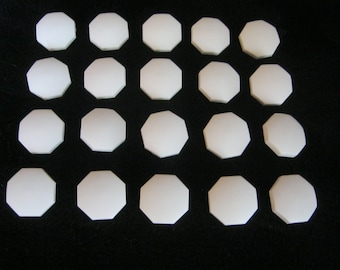 20 pieces of jacket buttons with eyelet, 8 corners, white, diameter approx. 23 mm, new, Button manufactory