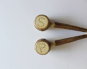 Vintage Faux Wood Pipe Souvenir Salt and Pepper Shakers 1950s