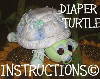 Learn how to make Scooter the Diaper Turtle. GR8 for baby nursery. Diaper cake keepsake