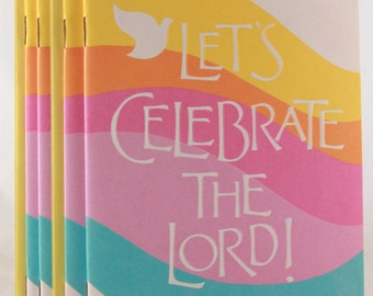 NEW! Vintage 1982 Hallmark Package of 4 ~Let's Celebrate The Lord!~ Book cards with Envelopes.