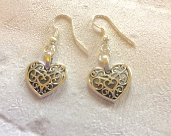 Silver Heart Earrings, Silver Earrings, Heart Earrings, Lattice Heart Earrings, Silver Drop Earrings, Wedding Jewellery.