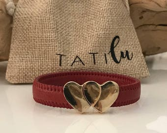 Flat Leather Bracelets with Magnetic Heart clasp