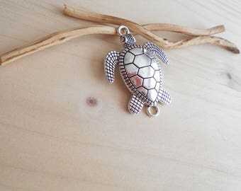 antique silver turtle pendant 44x33mm
