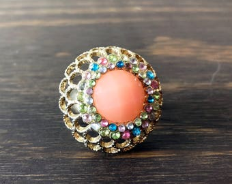 Vtg 60s Cluster Ring with Adjustable Band in Gold with Peach and Multi Color Rhinestones Vintage Costume Cocktail Party Statement