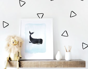 Kids Wall Decal / Triangles Wall Decal / Wall Decal Kids / Black Triangles / Wall Decal / Monochrome Decor. Hollow Triangles Wall Decal