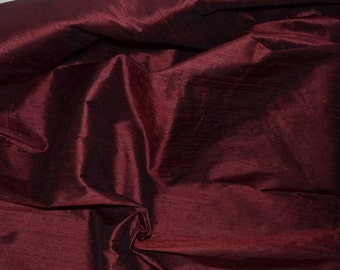 Dark Wine Red / Burgundy / Brown Pure Silk Dupioni,Fat Quarter-D 22