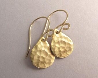 Dainty Gold Drop Earrings, Gold Teardrop Earrings, Hammered Gold Drops, Simple Gold Earrings, Gold Tone Earrings, Everyday Earrings