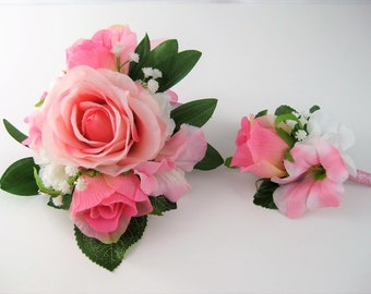 Romantic Pink Wedding Prom Mothers Day Rose Flower Pin Wrist Corsage or 2pc with Boutonniere