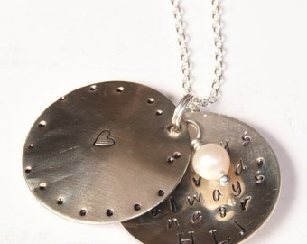 Sterling Silver Memorial Locket with Freshwater Pearl - Silver Personalized Initials Necklace