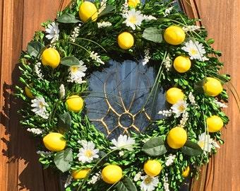 Farmhouse Wreath - Lemon Wreath - Daisy Wreath - Lemon Boxwood Wreath - Lemon Kitchen Wreath - Boxwood Wreath - Summer Wreath