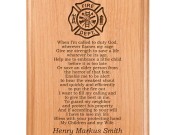 Firefighter S Prayer Plaque Laser Engraved