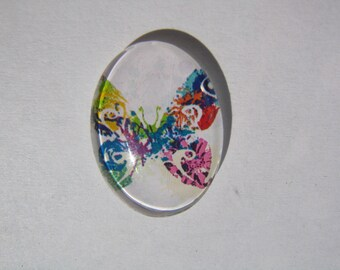 Cabochon 13 X 18 mm oval with multicolored butterfly image