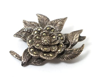 Silver Leaf Brooch with Marcasite Gemstones and Bright Sterling Silver Leaves in Mic Century Boho Brooch