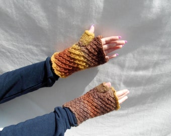 Knitted fingerless gloves, brown, yellow, multicoloured, chocolate banana, striped wristwarmer with thumb, 100% wool, feltable, cosy