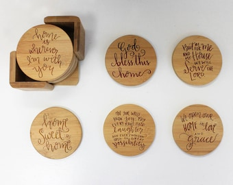 Coasters, Round or Square Coaster Set, Engraved Bamboo Wood Coasters, Inspirational Religious Housewarming Gift 6pc Set --22043-CST1-001