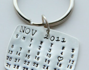 Sterling Calendar Keychain , Gift For Him, Calendar Key Chain, Wedding Favors, Save The Date, Anniversary, Valentines gift