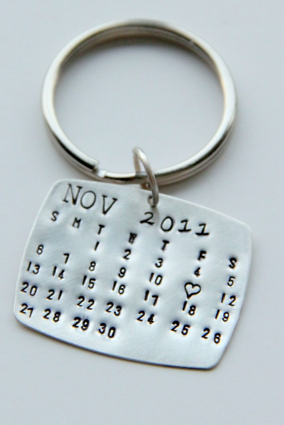 sale sterling calendar keychain gift for him calendar key. Black Bedroom Furniture Sets. Home Design Ideas
