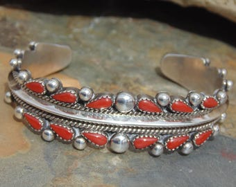 Bill and Betty Betoney ~ Navajo Vintage Sterling and Tear Drop Petit Point Red Coral Cuff Bracelet