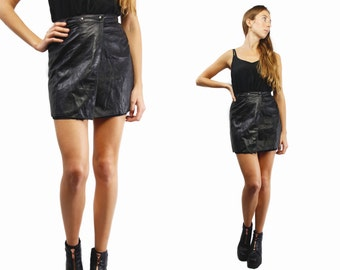 Leather mini Skirt / High Waist Skirt / High Waisted Skirt / Midi Skirt  / Black mini Skirt / Leather Skirt Small / Black Mini Skirt