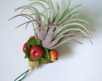 Rustic Christmas Ornament Gift for Gardener Botanical Decor Faux Air Plant Faux Tillandsia