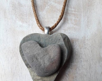 Heart to Heart necklace with  pendant - 2  heart shaped beach stones / rocks