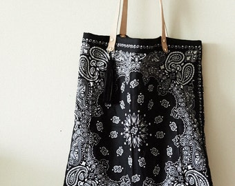 Bandana Tote Bag w/ natural leather straps and suede tassel