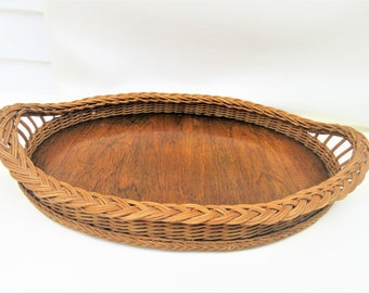 Vintage Large Serving Tray | Wicker Tray | Wooden Tray | Oval Tray | Wicker Tray with Handles
