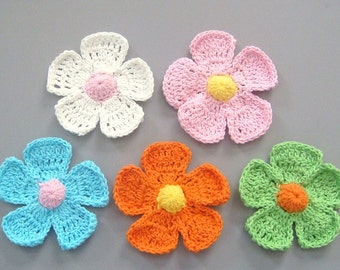 15 Large Crochet Flower Appliques EA114
