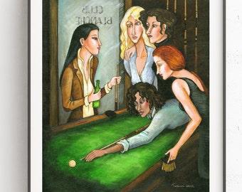 Lesbian Pool Game~Digital Art~Printable Art~INSTANT DOWNLOAD