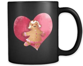 Gingerbread Woman Christmas Black 11oz mug