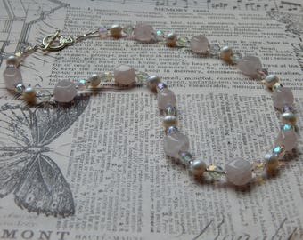 Rose quartz, freshwater pearls and Czech glass necklace