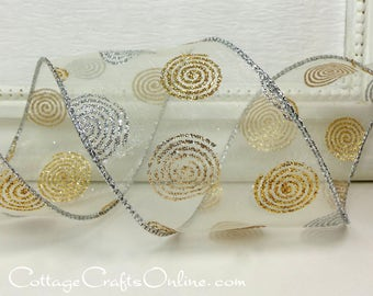 """Christmas Wired Ribbon, 2 1/2"""" , Silver and Gold Glittered Swirls on White Sheer - THREE YARDS - """"Dot Dazzle""""  Wire Edged Ribbon"""