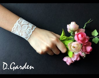 Bridal Wedding Elegant Stretchable White Lace Wrist Cuff / Tattoo Cover